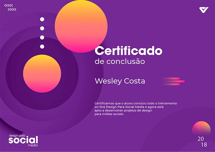Certificado de Conclusão do Curso Design para Social Media